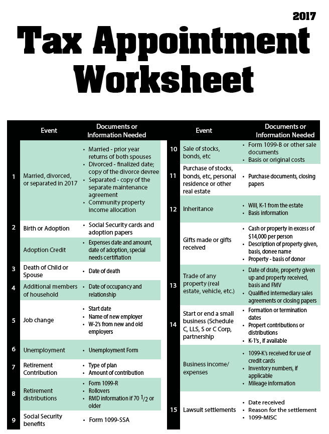 2016 Tax Appointment Worksheet